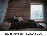 the bedroom in the loft. bed on ... | Shutterstock . vector #523146220