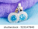 Close Up Earrings With Zircon...