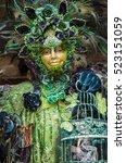 Peacock Mask In Venice Carnival