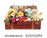 toys in old suitcase  isolated... | Shutterstock . vector #523152394