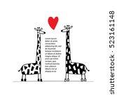 giraffes couple in love  sketch ... | Shutterstock .eps vector #523161148