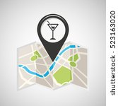 cocktail drink map pin pointer... | Shutterstock .eps vector #523163020