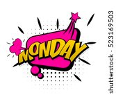 lettering monday week. comic... | Shutterstock .eps vector #523169503