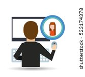 girl long hair community social ... | Shutterstock .eps vector #523174378