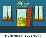 open door. valley landscape.... | Shutterstock .eps vector #523175074