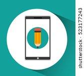 girl app education online write ...   Shutterstock .eps vector #523177243