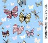 vector pattern with colorful... | Shutterstock .eps vector #523179256
