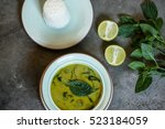 thai chicken green curry with...   Shutterstock . vector #523184059