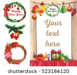 new year. card. menu.  the year ... | Shutterstock . vector #523186120