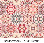 Abstract seamless pattern tiles. Colorful vector set of hexagonal elements for design of wallpaper, fabric or wrapping paper.