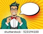 wow pop art face. young man in... | Shutterstock .eps vector #523194100