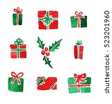 set of different christmas... | Shutterstock . vector #523201960