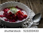 Hot Bowl Of Borscht Soup With...