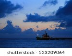 shipping port in the morning... | Shutterstock . vector #523209064