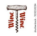 wine corkscrew. vector... | Shutterstock .eps vector #523210234