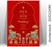 indian wedding card  elephant... | Shutterstock .eps vector #523212490