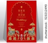 indian wedding card  elephant... | Shutterstock .eps vector #523212490