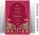 indian wedding card  elephant... | Shutterstock .eps vector #523212610