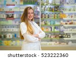 happy young woman pharmacist... | Shutterstock . vector #523222360