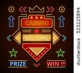retro casino icons with... | Shutterstock .eps vector #523225894