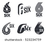 set of black and white number... | Shutterstock .eps vector #523234759