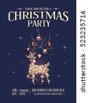 reindeer christmas party... | Shutterstock .eps vector #523235716