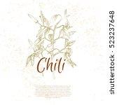 hot chili pepper  vintage style ... | Shutterstock .eps vector #523237648