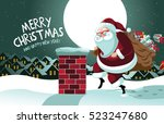 cartoon claus sneakily... | Shutterstock .eps vector #523247680