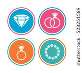 rings icons. jewelry with shine ... | Shutterstock . vector #523251589