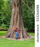 Woman Hugging A Giant Tree...