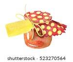 watercolor jar of jam. painted...   Shutterstock . vector #523270564