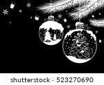 Christmas Ball Design On Black...