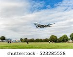 Small photo of LONDON, ENGLAND - AUGUST 22, 2016: 9K-ADE Kuwait Airways Boeing 747 Landing in Heathrow Airport