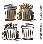 trash can illustration | Shutterstock .eps vector #523286884
