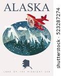 alaska travel vector poster.... | Shutterstock .eps vector #523287274