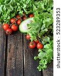 lettuce   cherry tomato and... | Shutterstock . vector #523289353
