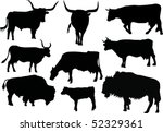illustration with nine bull and ... | Shutterstock . vector #52329361