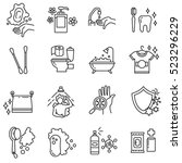 hygiene icons set. compliance... | Shutterstock .eps vector #523296229