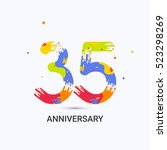35 years anniversary  splash... | Shutterstock .eps vector #523298269