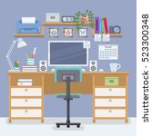 workspace for freelancer in... | Shutterstock .eps vector #523300348