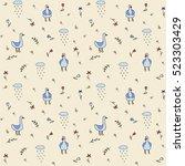 vector seamless pattern   geese ... | Shutterstock .eps vector #523303429