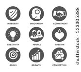 company core values solid icons ... | Shutterstock .eps vector #523305388