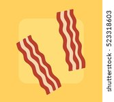 bacon strips on bright... | Shutterstock .eps vector #523318603