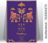 indian wedding card  elephant... | Shutterstock .eps vector #523324273