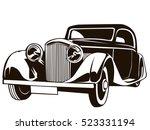 retro muscle car vector... | Shutterstock .eps vector #523331194