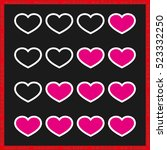 rating with flat hearts  icons... | Shutterstock .eps vector #523332250