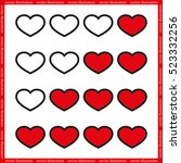 rating with flat hearts  icons... | Shutterstock .eps vector #523332256
