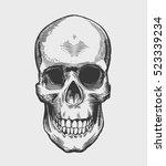 skull in engraving style.... | Shutterstock .eps vector #523339234
