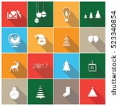 new year icon set  merry... | Shutterstock .eps vector #523340854