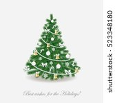 christmas tree decorated in... | Shutterstock .eps vector #523348180